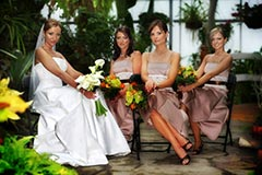 Cenntenial Park Wedding Photography - Bride with bridesmaids posing in greenhouse
