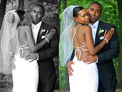 Toronto Wedding Photography - Groom and Bride with low back dress
