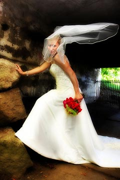 Toronto Staged Wedding Photography - Brides veil blowing in tunnel